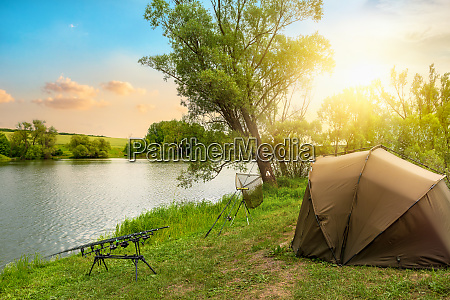 fishing camp at sunset