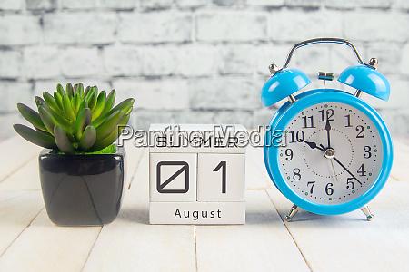 august 1 on the wooden calendarthe