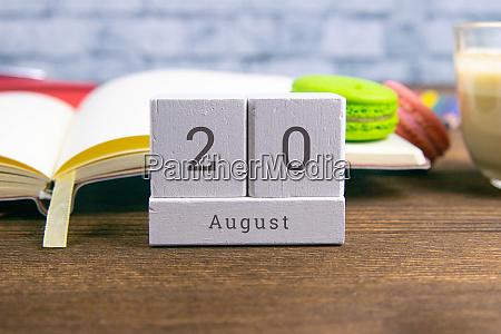 august 20 on the wooden calendarthe