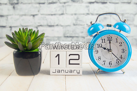 january 12 on the wooden calendarthe