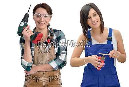 two pretty young women in work