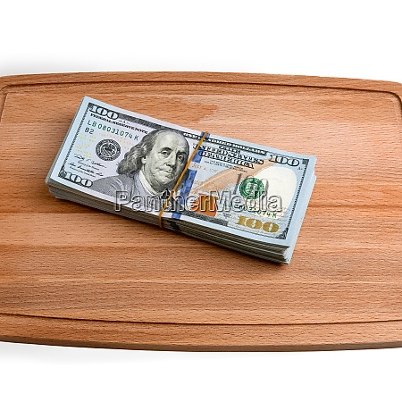 isolated bundle of dollars a large