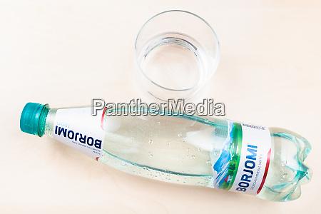 lying plastic bottle of borjomi water