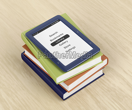 e book reader on top of