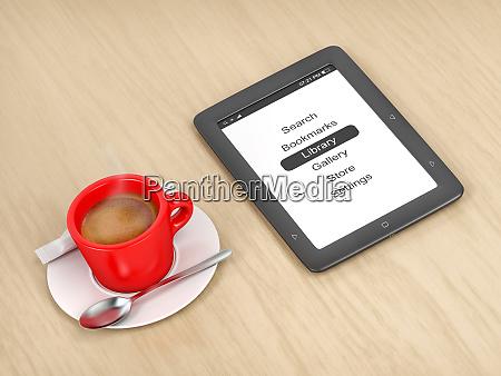 e book reader and coffee