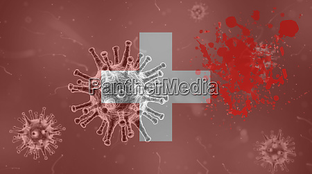 coronavirus flag with blood of switzerland