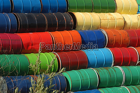 colorful metal barrels