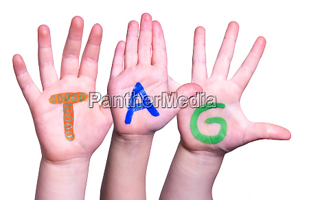 children hands building word tag means