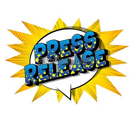 press release comic book style