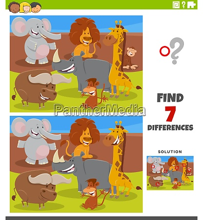 differences educational task with cartoon animals