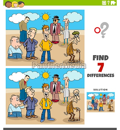 differences educational task with cartoon people