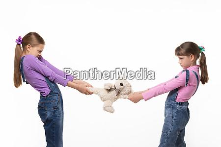 girls pull teddy bear at each