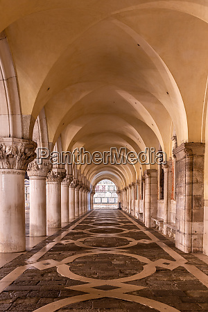 arcades at doges palace in venice