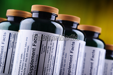 composition with dietary supplement containers drug