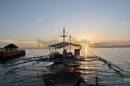 boat in the sunset in the
