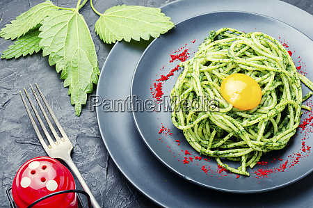 pasta with herbal sauce