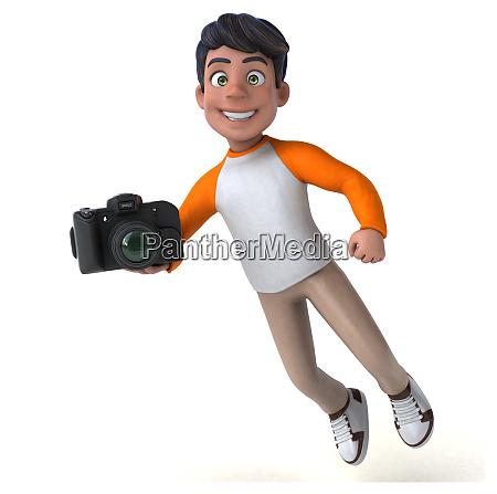 fun 3d cartoon asian teenager