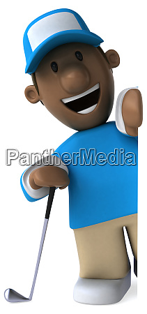 fun golfer 3d illustration