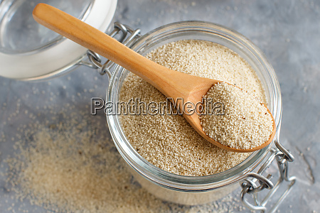 raw uncooked fonio seeds in a