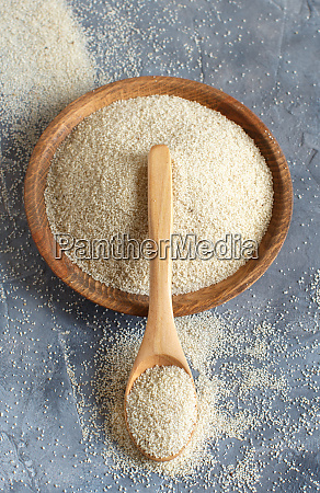 raw uncooked fonio seeds with a