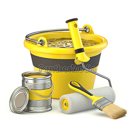 yellow bucket color can and brushes