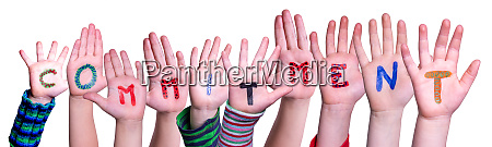 children hands building word commitment isolated