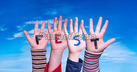 children hands building word fest means
