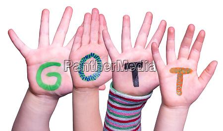 children hands building word gott means
