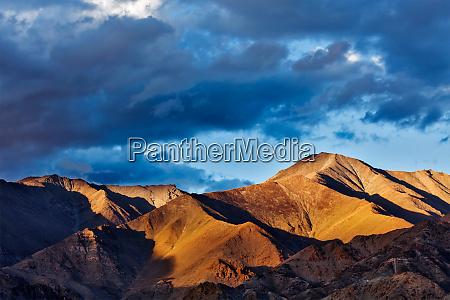 himalayas mountains on sunset