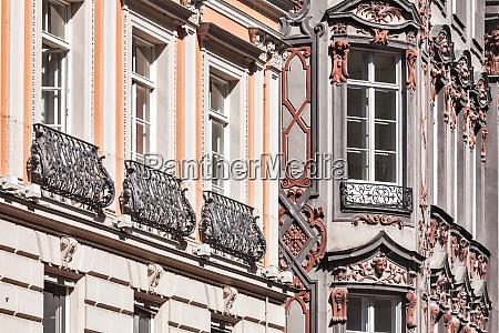 medieval rich house palace windows close