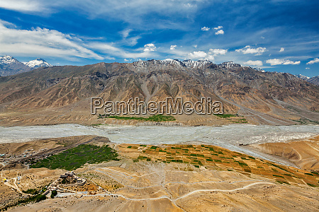 aerial view of spiti valley and