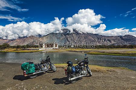 two bikes in himalayas ladakh india