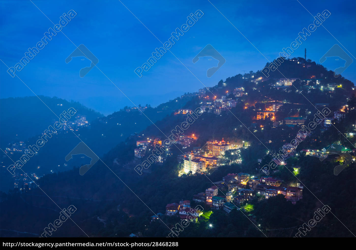 night, view, of, shimla, town, , himachal - 28468288