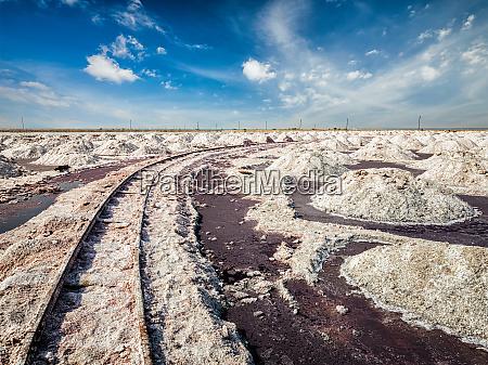 salt mine with rails