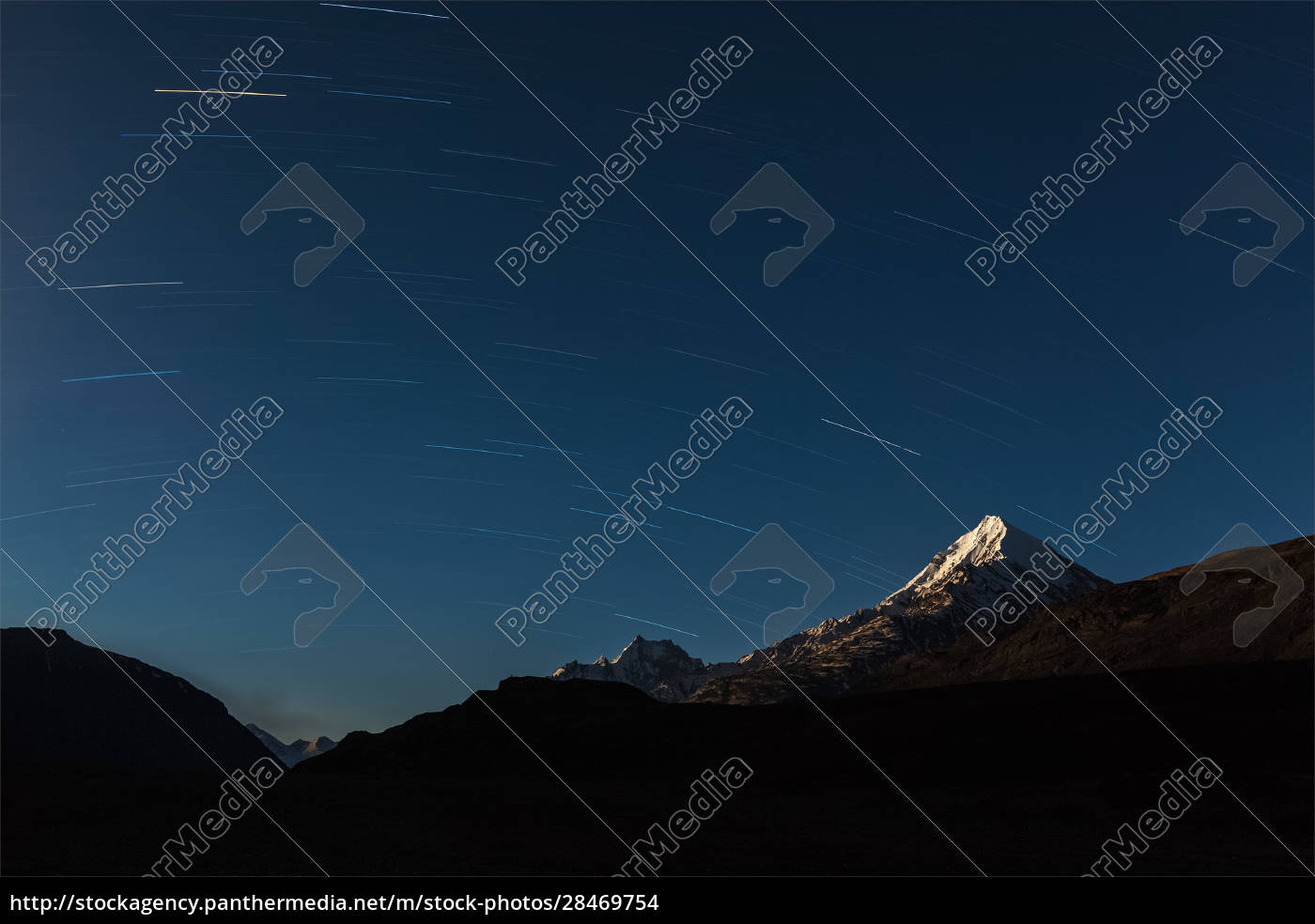 star, trails, above, himalayas, mountains. - 28469754