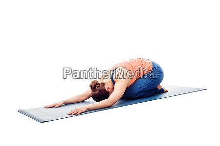 woman doing ashtanga vinyasa yoga relaxation