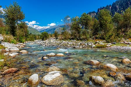 beas river in kullu valley himachal