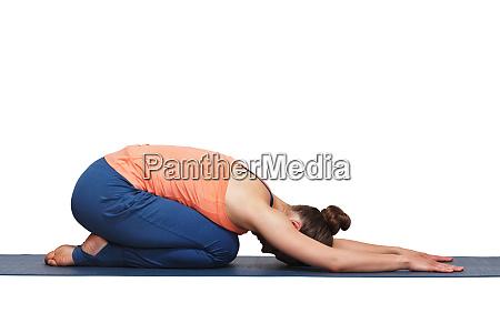 woman relax in hatha yoga asana