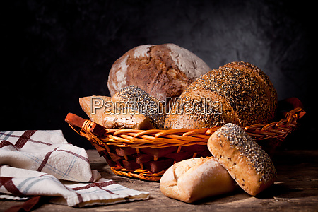 basket of a bunch of breads