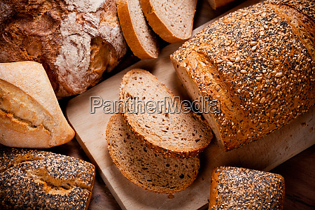 bunch of breads on a table