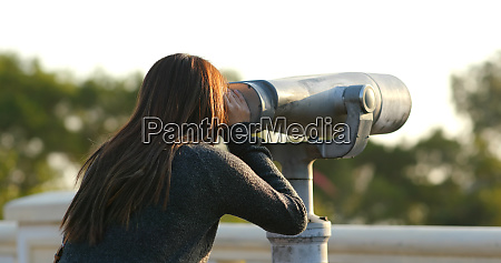 travel woman look tough the binocular