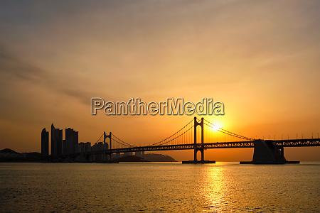 gwangan bridge on sunrise busan south