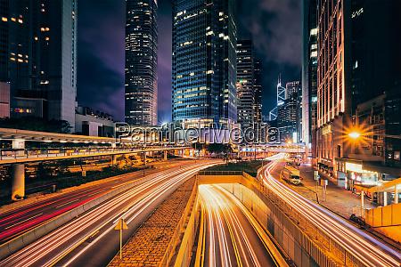 street traffic in hong kong at