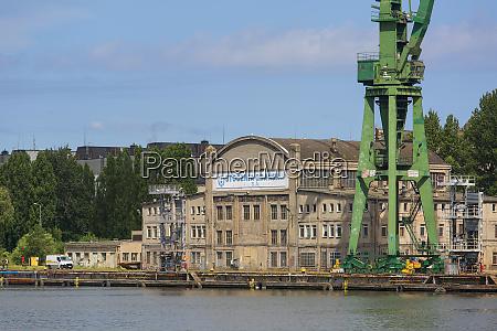 gdansk shipyard by vistula river the
