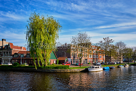 boats houses and canal harlem netherlands