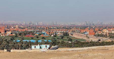 cairo city skyline giza plateau egypt