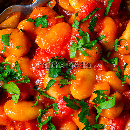 rustic giant beans with fresh tomato