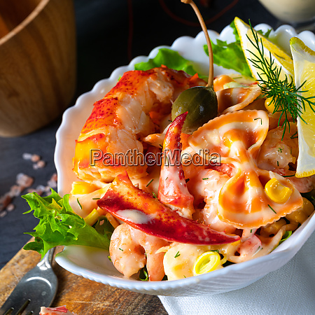 lobster crab salad with pasta