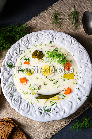 dill soup with egg and fresh