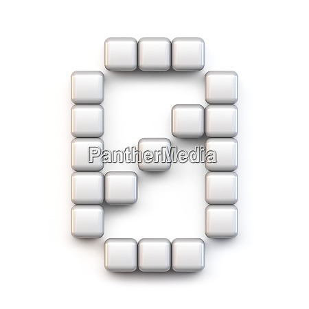 white cube pixel font number zero